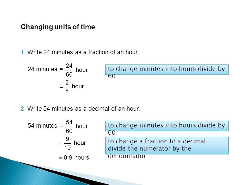 Changing Units Of Time  Minutes As A Fraction Of An Hour