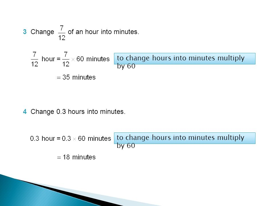3 Change Of An Hour Into Minutes