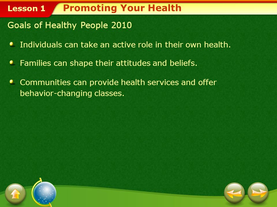 Promoting Your Health Goals of Healthy People 2010
