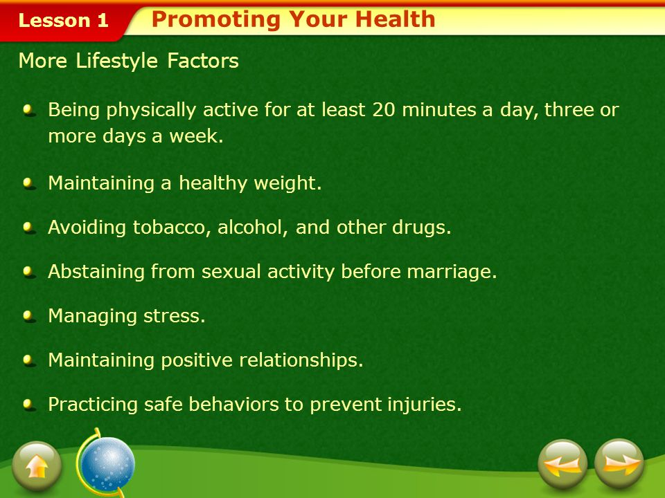 Promoting Your Health More Lifestyle Factors