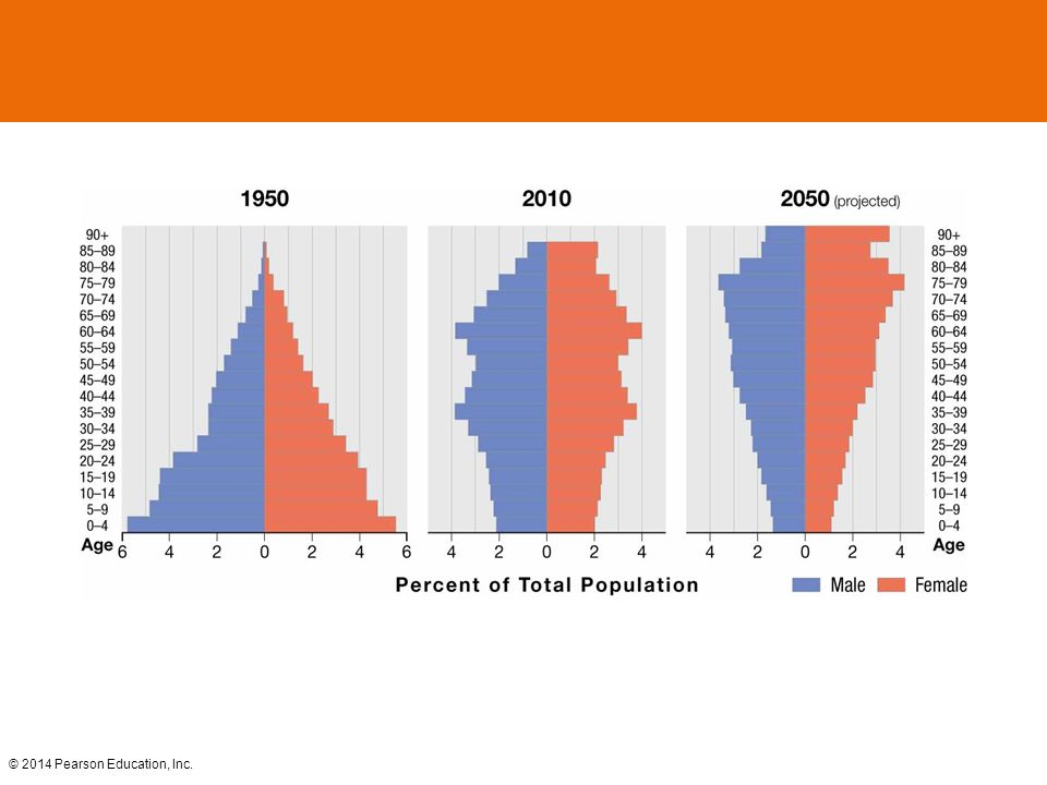 Figure 2-28 JAPAN'S CHANGING POPULATION PYRAMIDS Japan's population pyramid has shifted from a broad base in 1950 to a rectangular shape.