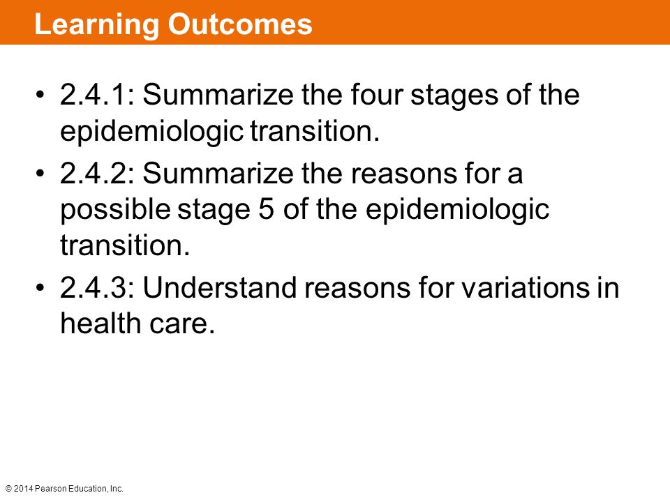 Learning Outcomes 2.4.1: Summarize the four stages of the epidemiologic transition.