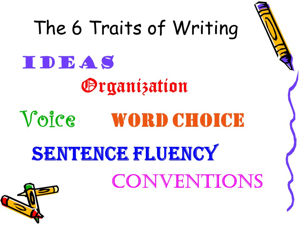 Voice word choice sentence fluency conventions The 6 Traits of Writing