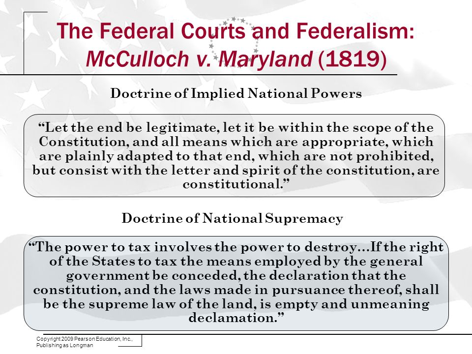 The Federal Courts and Federalism: McCulloch v. Maryland (1819)