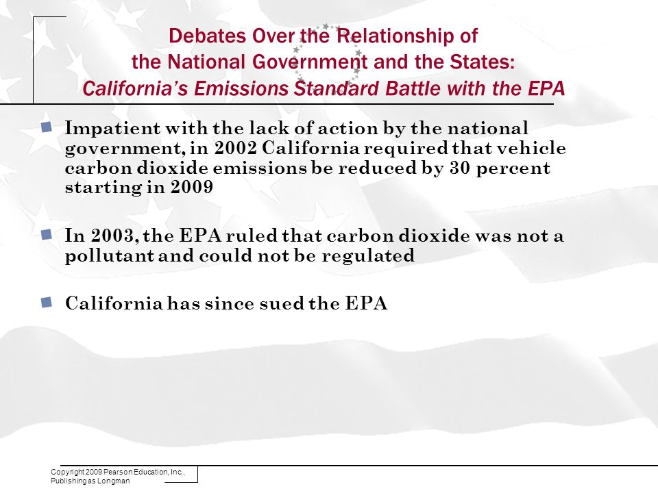Debates Over the Relationship of the National Government and the States: California's Emissions Standard Battle with the EPA