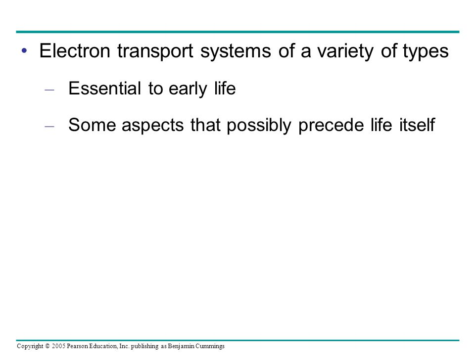 Electron transport systems of a variety of types