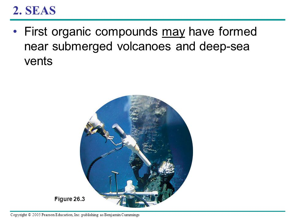 2. SEAS First organic compounds may have formed near submerged volcanoes and deep-sea vents.