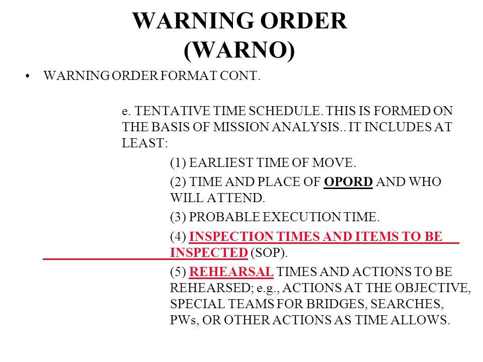WARNING ORDER WARNO FORMAT CONT