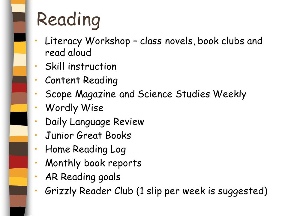 Reading Literacy Workshop – class novels, book clubs and read aloud