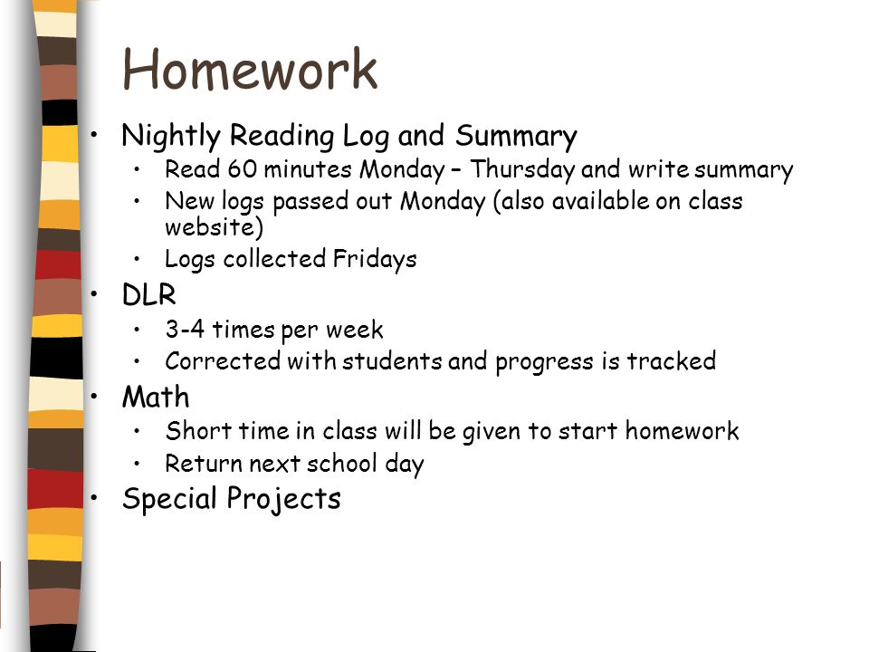 Homework Nightly Reading Log and Summary DLR Math Special Projects
