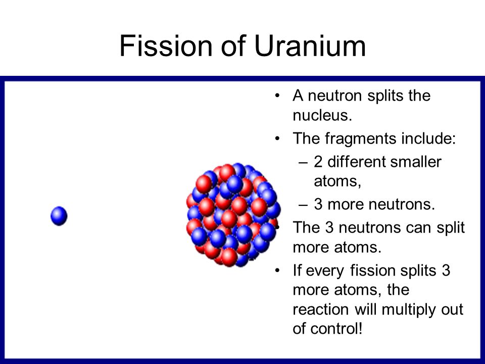Fission of Uranium A neutron splits the nucleus.
