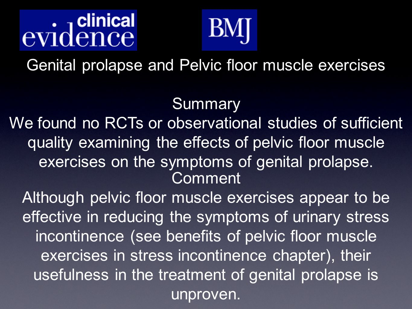 Genital prolapse and Pelvic floor muscle exercises