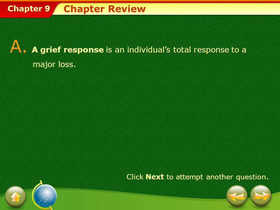 A. A grief response is an individual's total response to a major loss.
