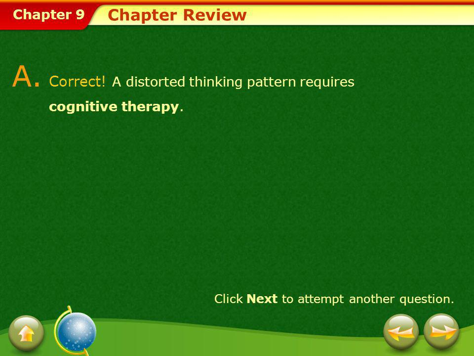 A. Correct! A distorted thinking pattern requires cognitive therapy.