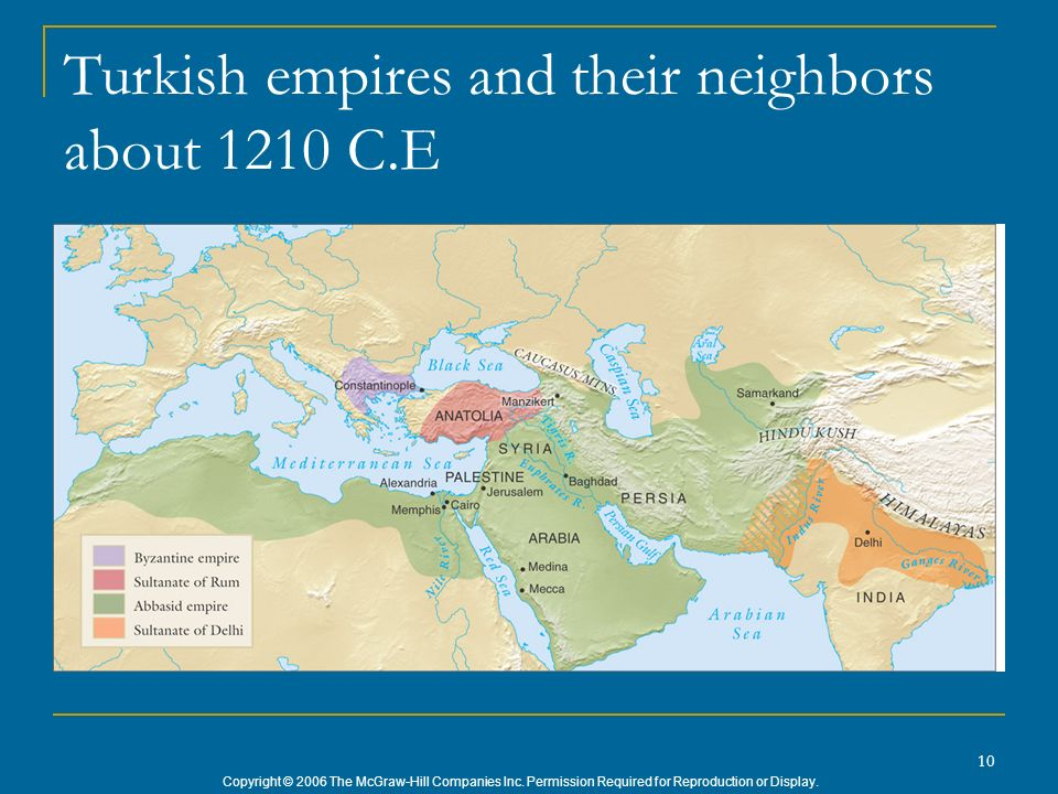 Turkish empires and their neighbors about 1210 C.E