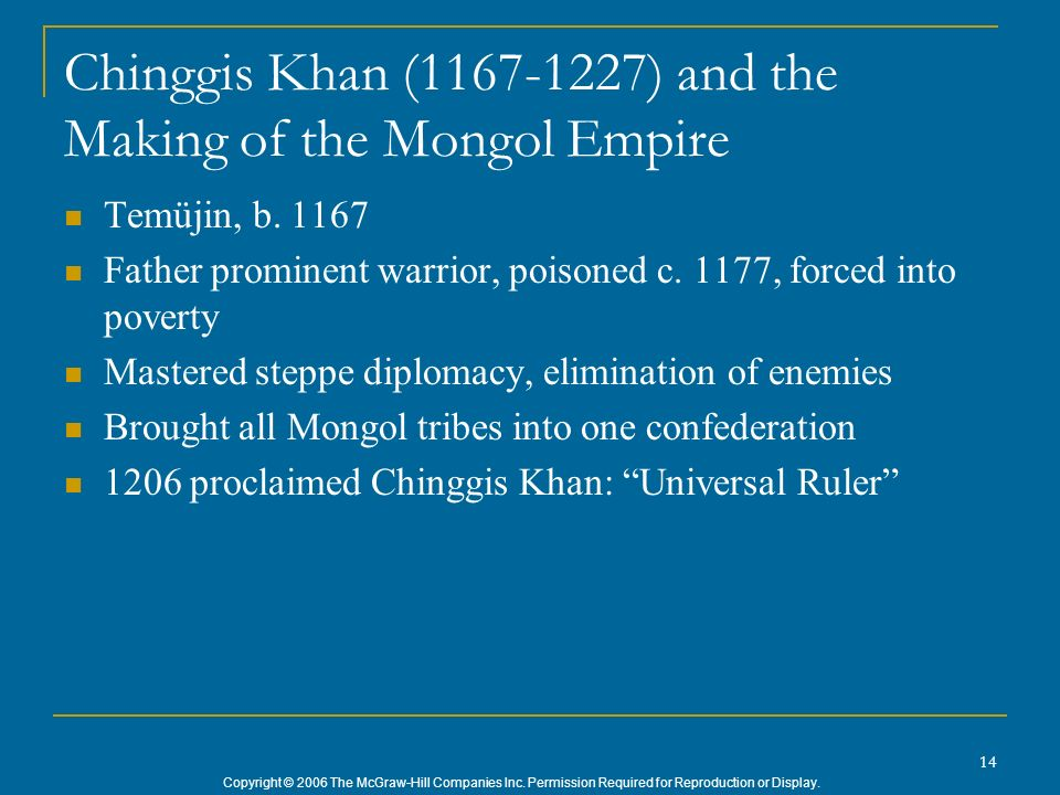 Chinggis Khan (1167-1227) and the Making of the Mongol Empire