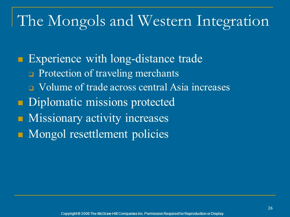 The Mongols and Western Integration