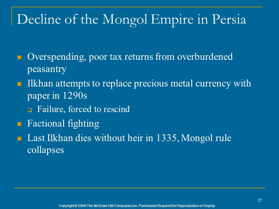 Decline of the Mongol Empire in Persia