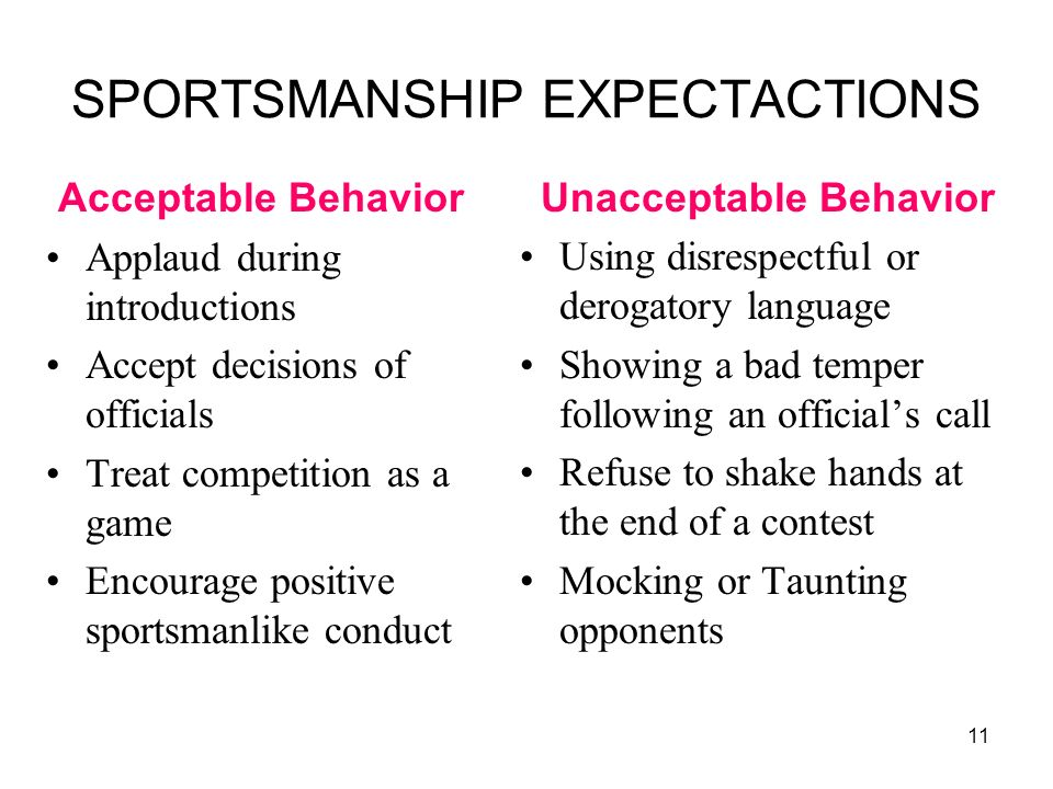 SPORTSMANSHIP EXPECTACTIONS