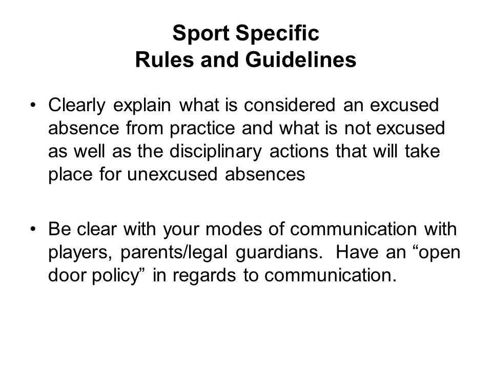 Sport Specific Rules and Guidelines