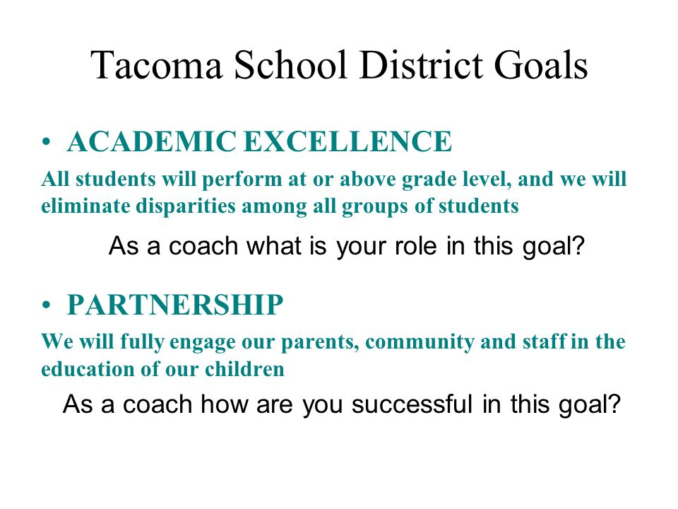 Tacoma School District Goals