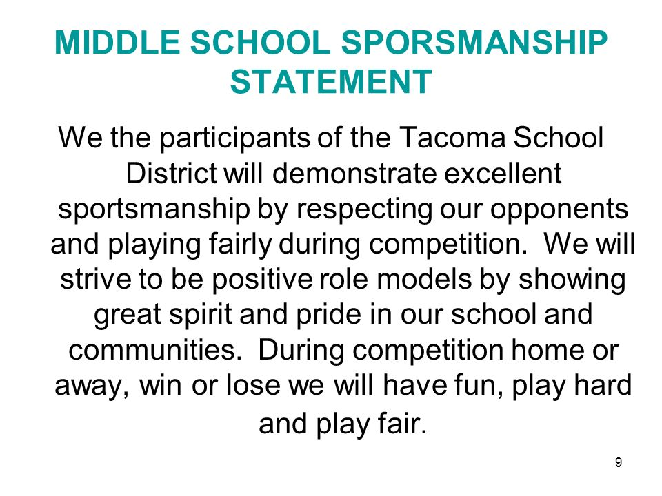 MIDDLE SCHOOL SPORSMANSHIP STATEMENT