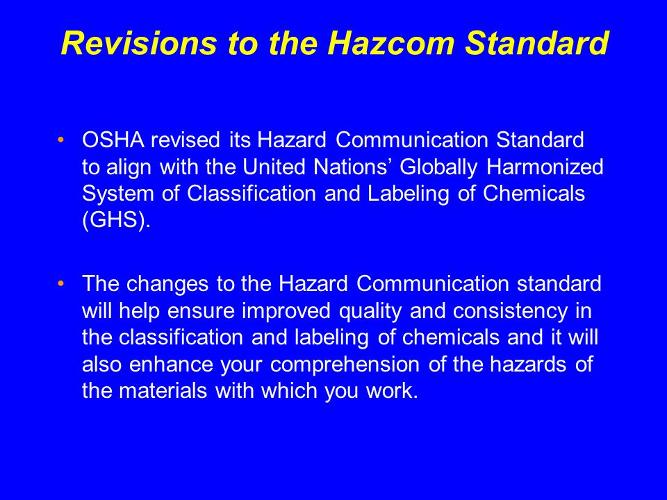 Revisions to the Hazcom Standard