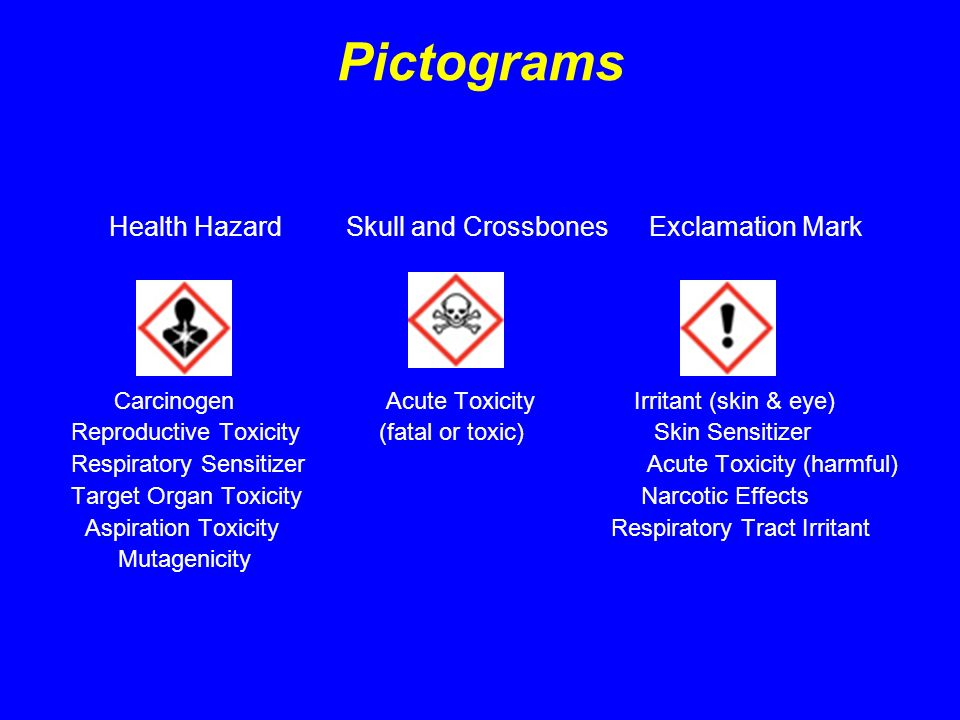 Pictograms Health Hazard Skull and Crossbones Exclamation Mark