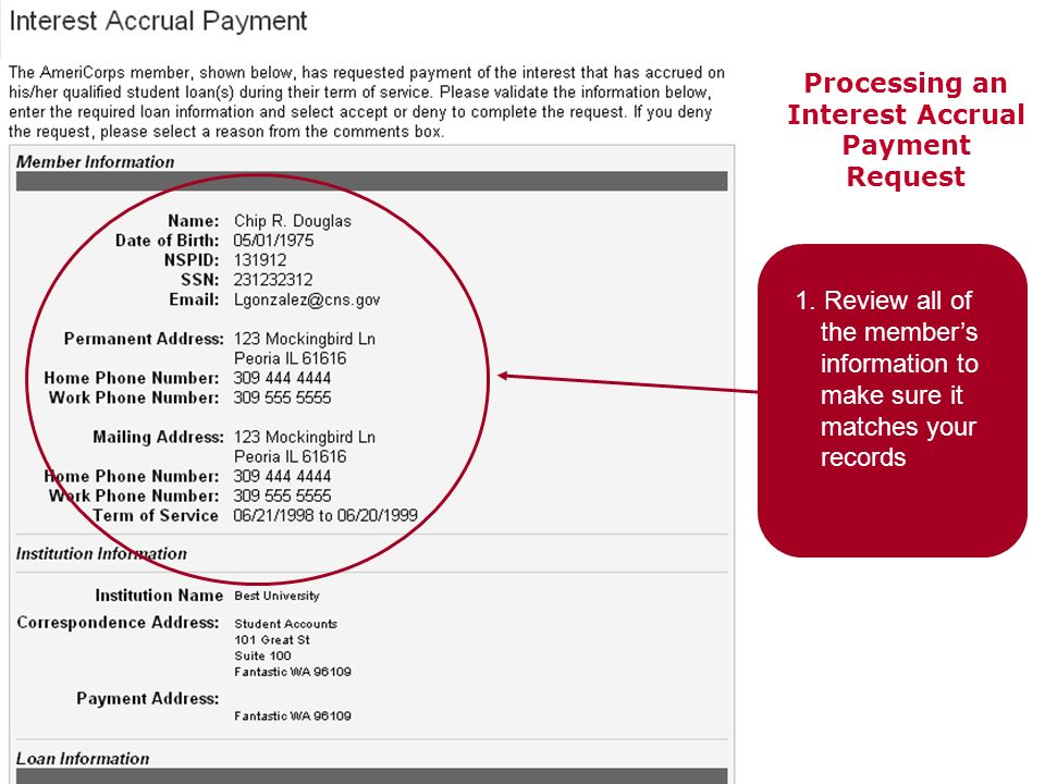 Processing an Interest Accrual Payment Request