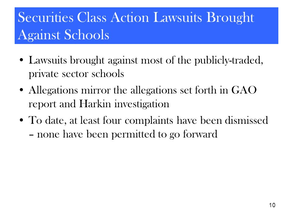 Securities Class Action Lawsuits Brought Against Schools
