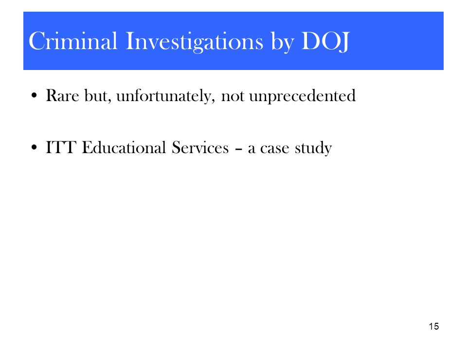 Criminal Investigations by DOJ