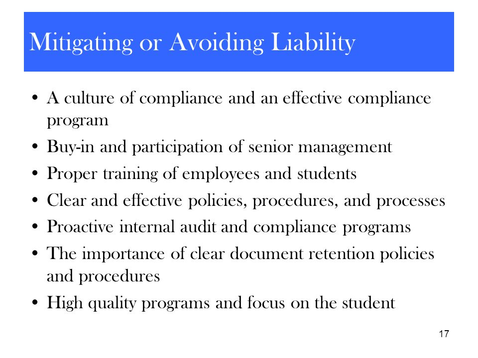 Mitigating or Avoiding Liability