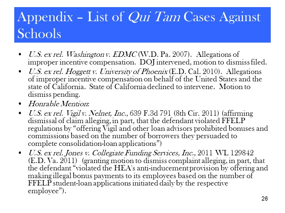 Appendix – List of Qui Tam Cases Against Schools