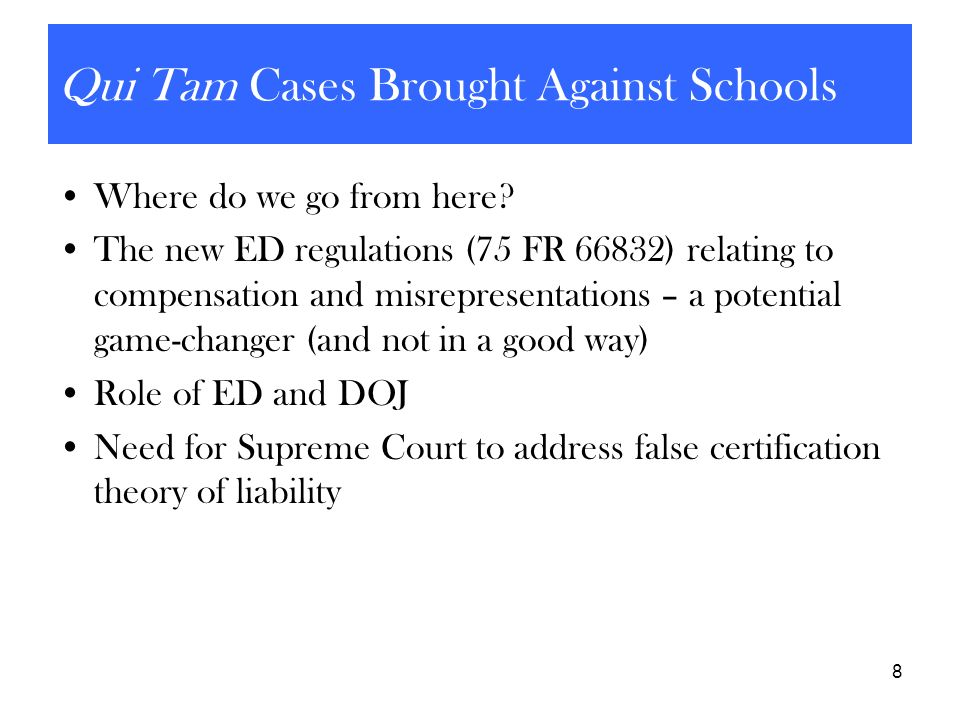 Qui Tam Cases Brought Against Schools