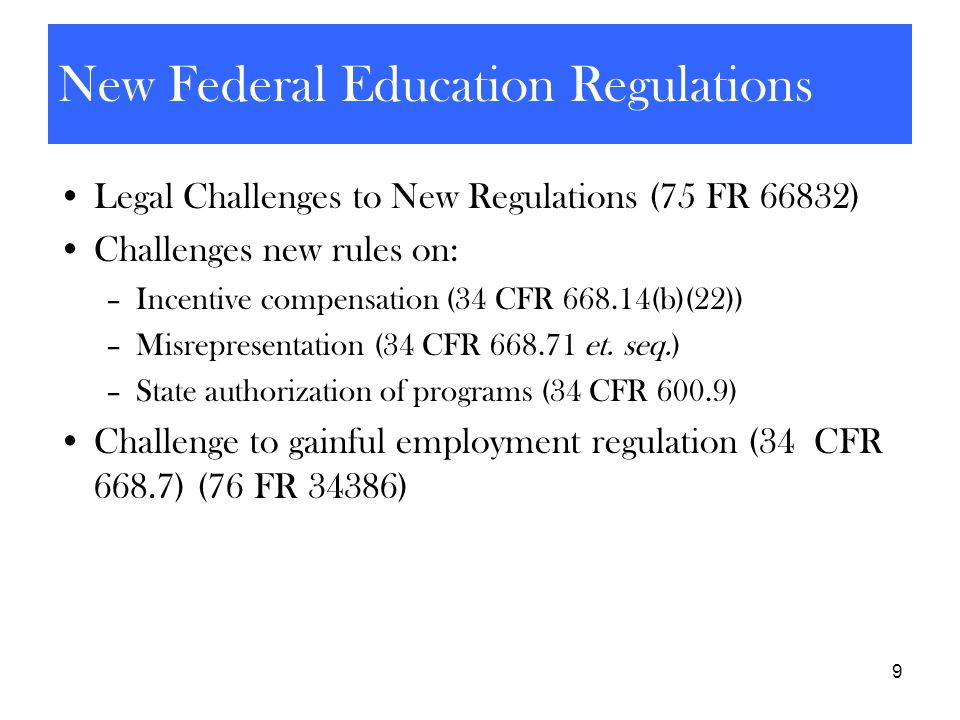 New Federal Education Regulations