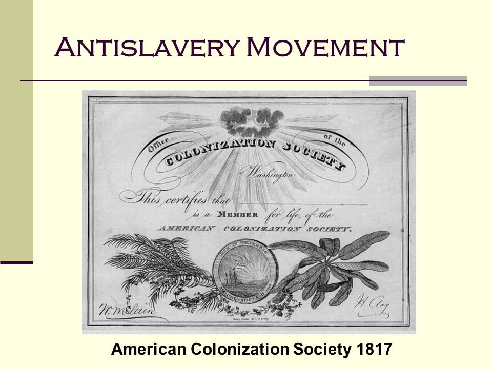 American Colonization Society 1817