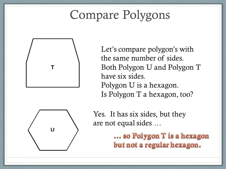 Compare Polygons Let's compare polygon's with the same number of sides. Both Polygon U and Polygon T have six sides.