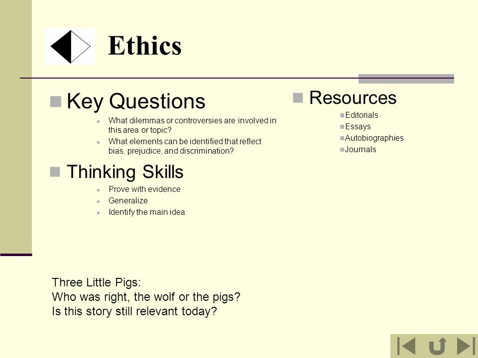 Ethics Key Questions Resources Thinking Skills Three Little Pigs: