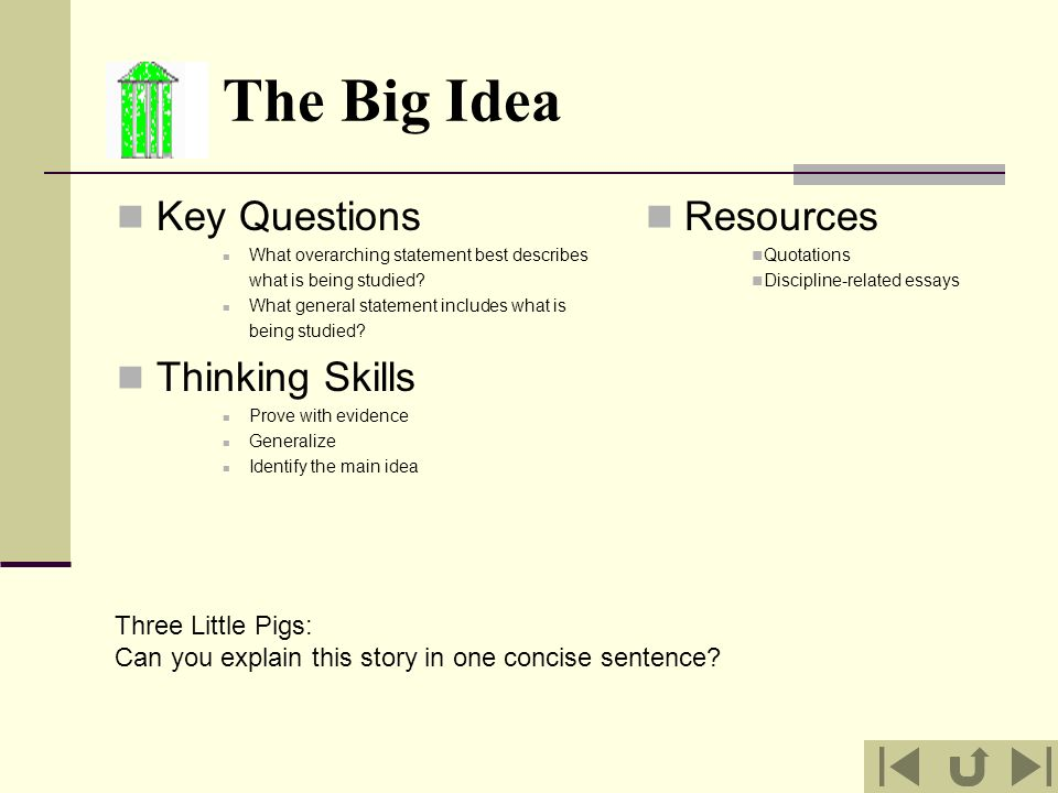 The Big Idea Key Questions Thinking Skills Resources