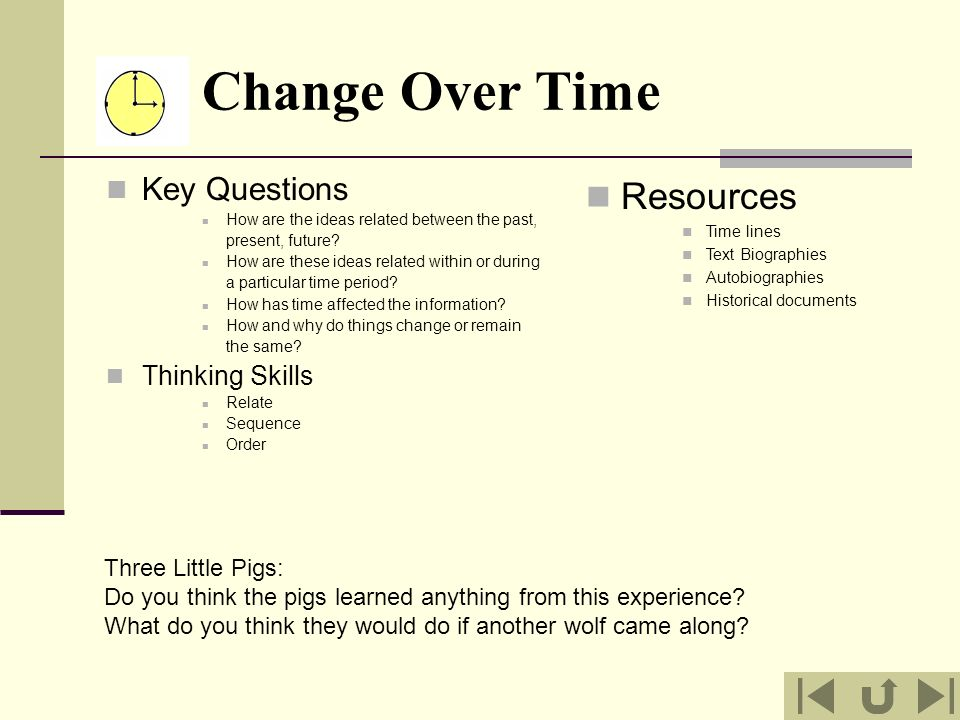 Change Over Time Resources Key Questions Thinking Skills