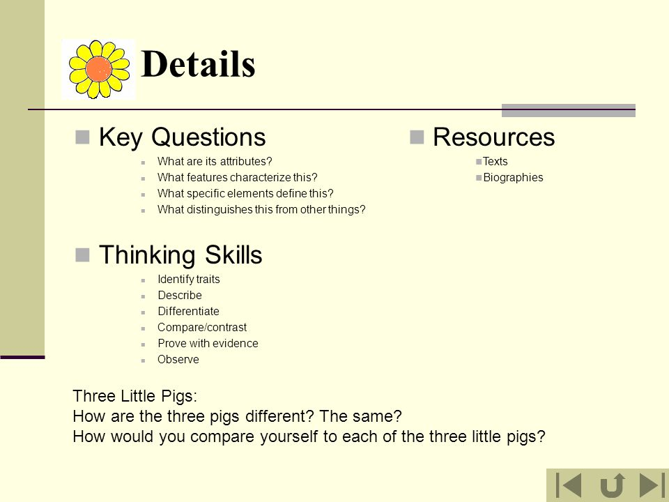 Details Key Questions Thinking Skills Resources Three Little Pigs: