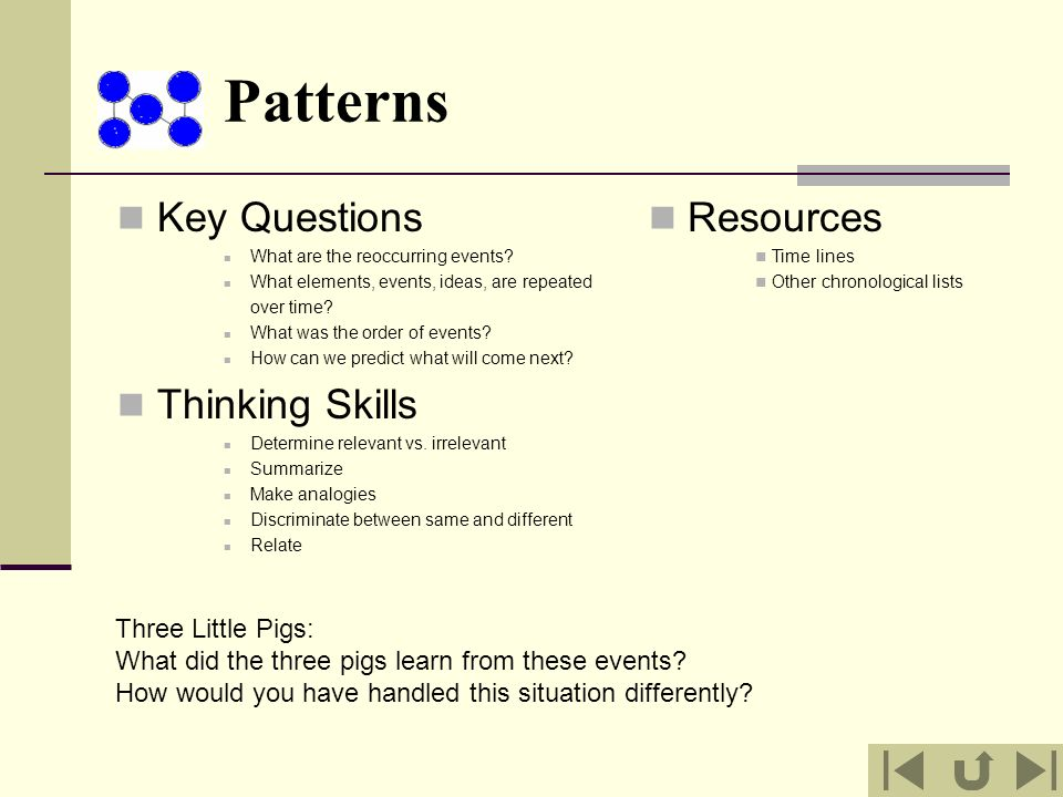 Patterns Key Questions Thinking Skills Resources Three Little Pigs:
