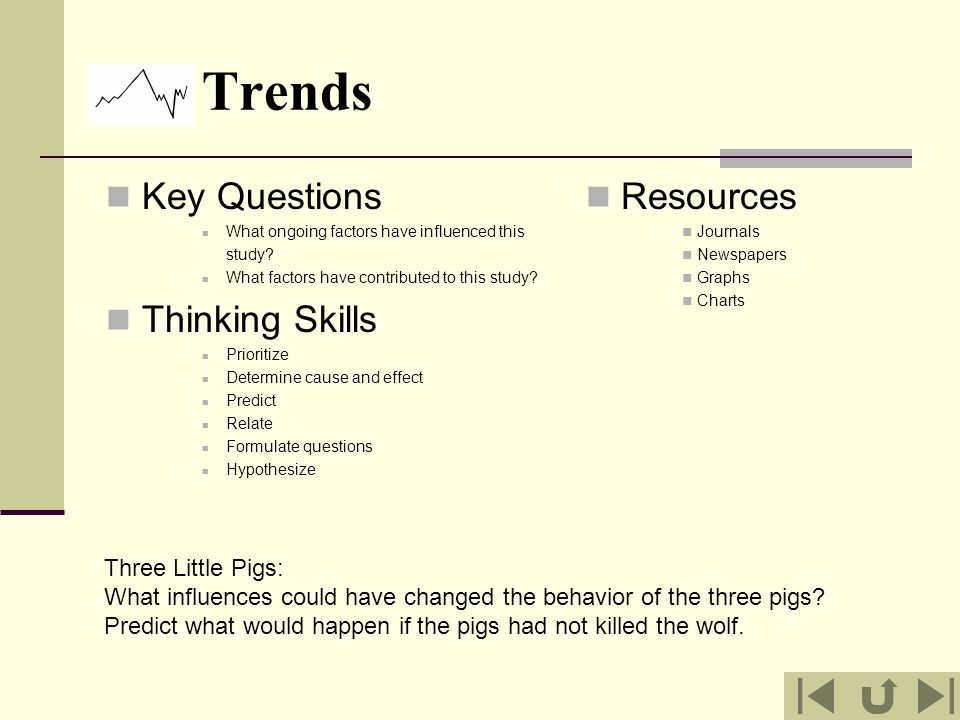 Trends Key Questions Thinking Skills Resources Three Little Pigs: