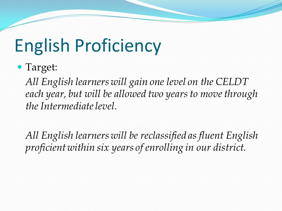 English Proficiency Target: