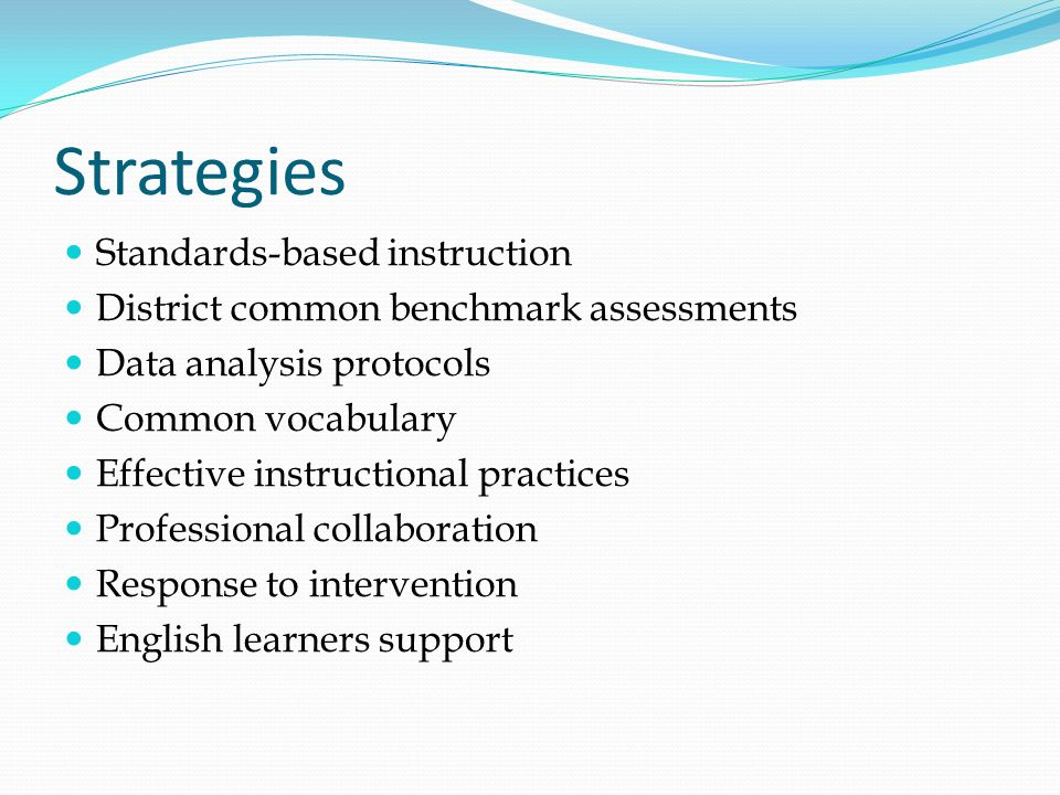 Strategies Standards-based instruction