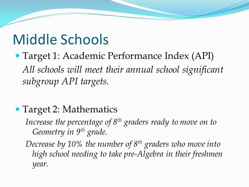 Middle Schools Target 1: Academic Performance Index (API)