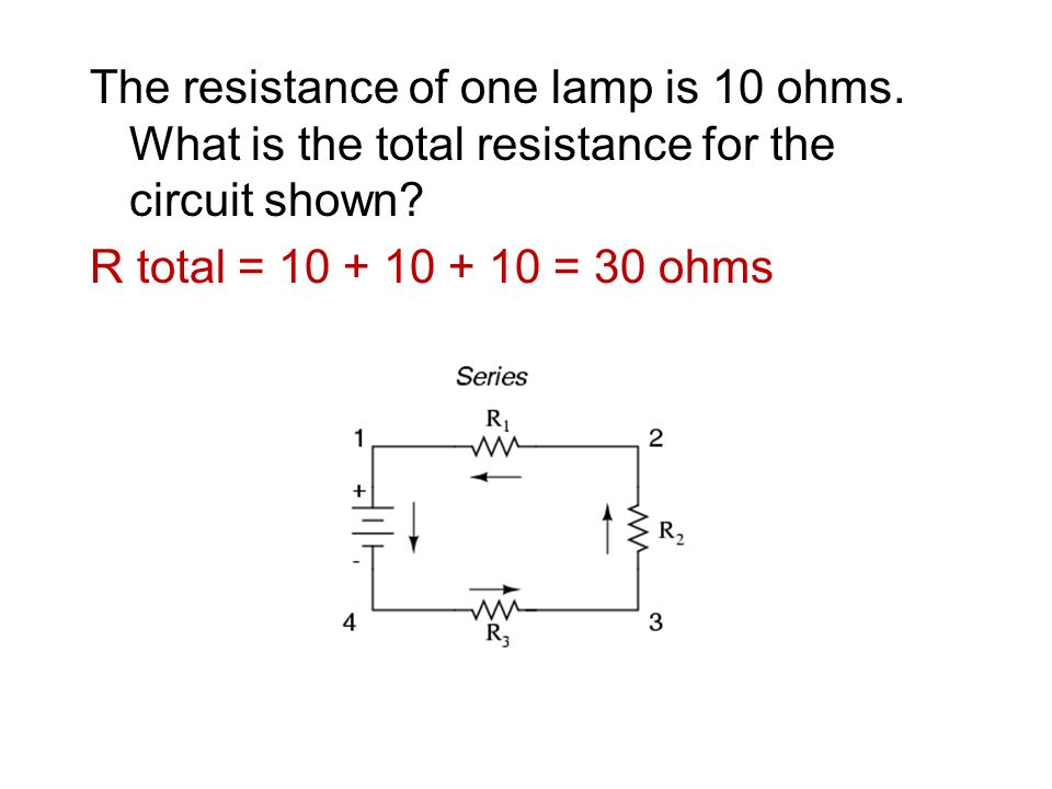 The resistance of one lamp is 10 ohms