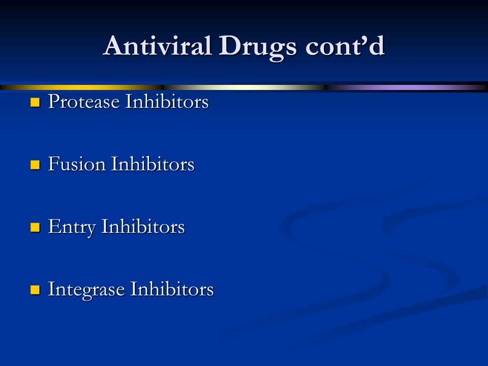 Antiviral Drugs cont'd