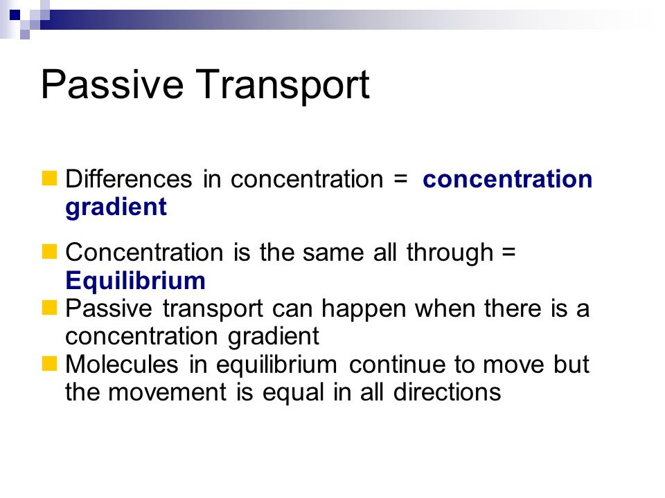 Passive Transport Differences in concentration = concentration gradient. Concentration is the same all through = Equilibrium.