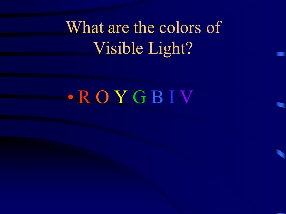 What are the colors of Visible Light